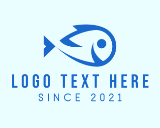 Seaweed - Happy Blue Fish  logo design