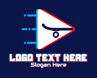 Skating - Glitchy Fast Skateboard logo design