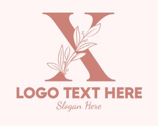 Spa - Elegant Leaves Letter X logo design