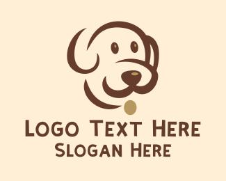 Pet Groom - Simple Brown Dog  logo design