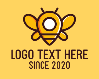 Gps Pin - Yellow Bee Pin logo design