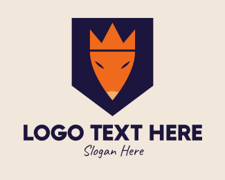 Pet Accessories - Crown Fox Shield logo design