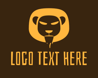 Wild Cat - Yellow Safari Lion logo design