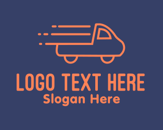 Pickup - Orange Pickup Truck Monoline logo design