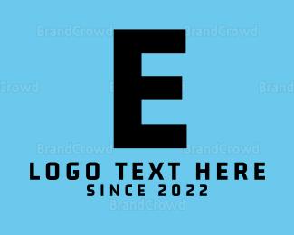 Computing - Modern Black Letter E logo design
