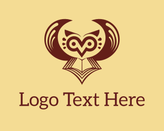 Learn - Brown Owl Book logo design
