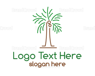 Beach Club - Abstract Coconut Tree logo design