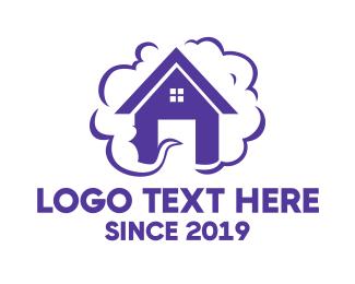 Trend - Purple House Smoke logo design