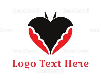 Bat - Bat Heart logo design