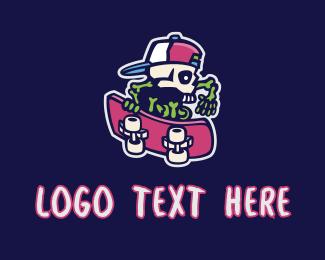 Skater - Cool Skeleton Skater logo design