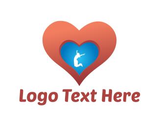 Jump - Woman & Heart logo design