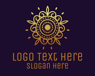 Hindu - Gold Flower Mandala  logo design