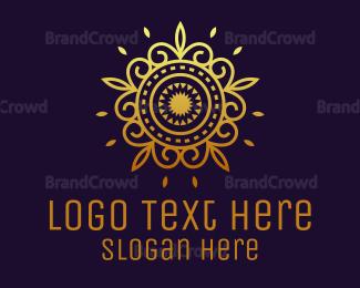 Conditioner - Gold Flower Mandala  logo design