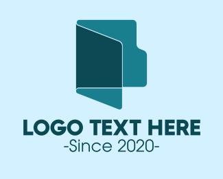 File - Blue File Folder logo design