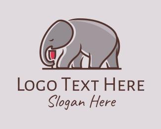 Alcohol - Elephant Wine Glass logo design
