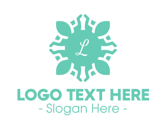 Tradition - Blue Floral Lettermark Emblem logo design