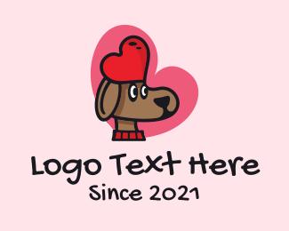 Pet Love - Cute Love Dog  logo design