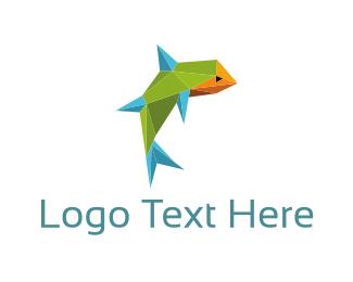 Psychedelic - Geometric Fish logo design