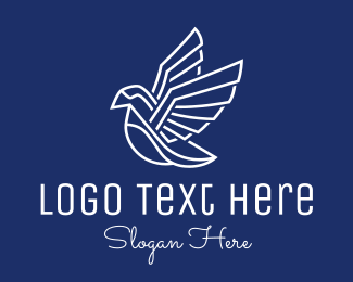 Bird - White Geometric Bird  logo design