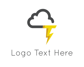 Website - Cloud & Thunderstorm logo design