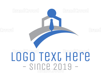 Blue And Gray - Office Worker logo design