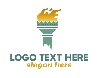Ny - Lady Liberty Torch logo design