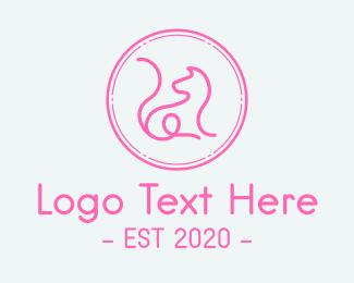 Cat Grooming - Minimalist Pink Cat  logo design