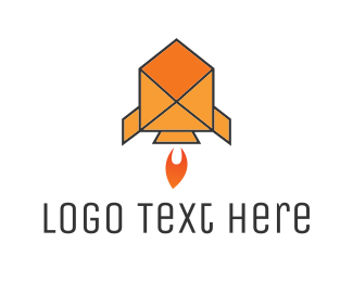Spacecraft - Mail Rocket logo design