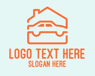 Car Service - House Car Garage logo design