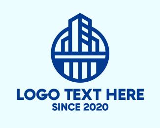 Building Maintenance - Blue Commercial Building logo design