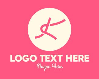 Lace - Pink Knot Letter K logo design