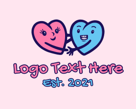 Couple Hearts Doodle  Logo