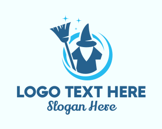 Home Cleaning Service - Shiny Cleaning Wizard logo design