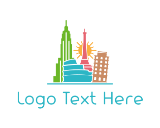 Backpacking - Tourist Travel Landmarks logo design