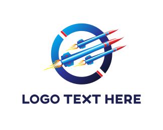 Projectile - Blue Rockets logo design