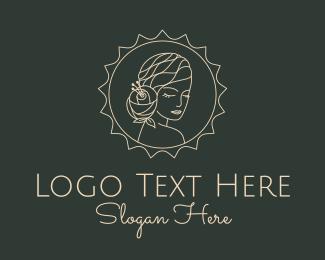 Hairdresser - Flower Woman Hairdresser Badge logo design