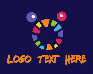 Hungry - Colorful Monster Face logo design