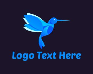 Hummingbird - Blue Hummingbird logo design