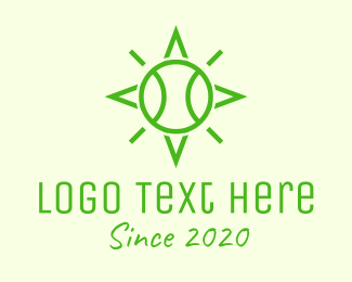 Tourney - Green Tennis Ball Star logo design