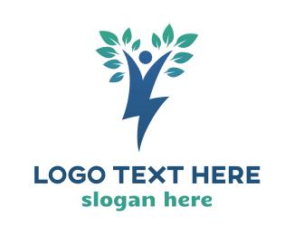 Green Energy - Blue Tree Thunder logo design
