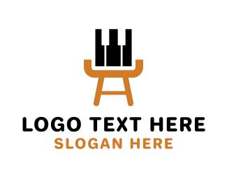 Piano Lessons - Piano & Easel logo design