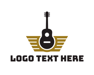 Instrumental - Guitar Wing Badge logo design