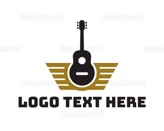 Rock Band - Guitar Wing Badge logo design