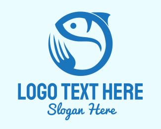 Resto - Blue Fish Resto logo design