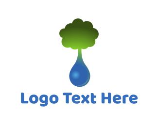 H2o - Tree Drop logo design