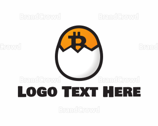 Crypto - Bitcoin Egg Hatch logo design