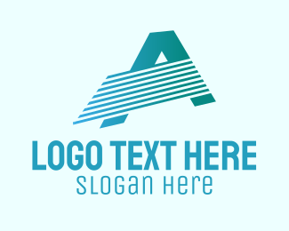 Typography - Blue Line Motion Letter A logo design