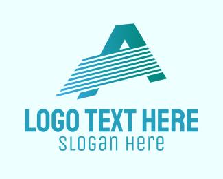 Blue Line Motion Letter A Logo