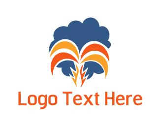 Coconut Tree - Orange Tropical Palm logo design