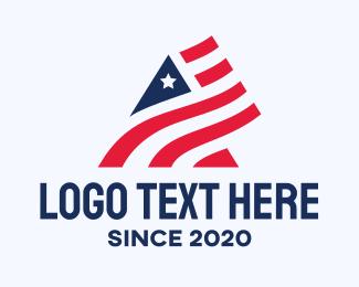 Patriot - Patriotic Flag Letter A logo design
